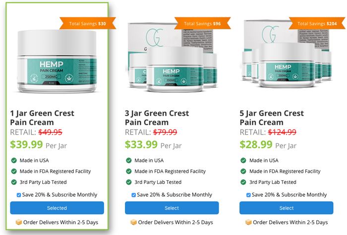 Order Green Crest Hemp Pain Cream